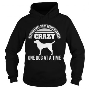 Driving my husband crazy one dog at a time shirt Ladies V-Neck