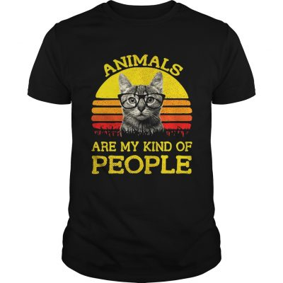 Cat animals are my kind of people retro shirt