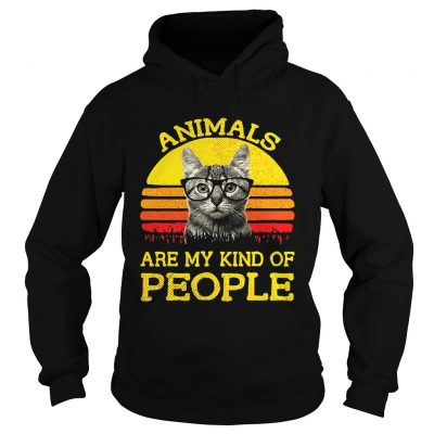 Cat animals are my kind of people retro shirt Ladies V-Neck