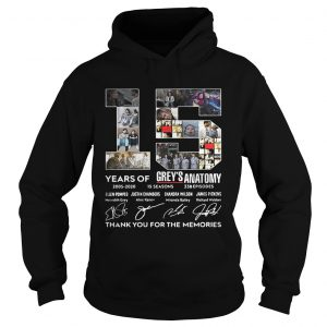 15 Years Of Greys Anatomy Thank You For The Memories hoodie