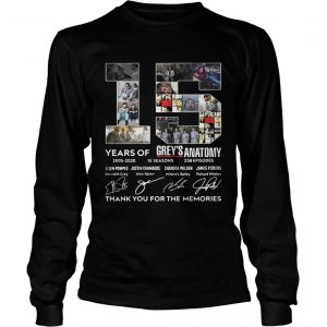15 Years Of Greys Anatomy Thank You For The Memories longsleeve tee
