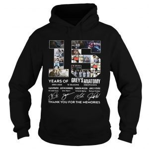 15 Years of Greys Anatomy thank you for the memories signature hoodie