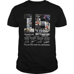 15 Years of Greys Anatomy thank you for the memories signature unisex
