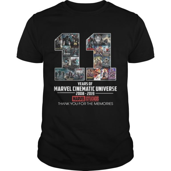 11 years of Marvel Cinematic Universe 2008 2019 Marvel Studios thank you for the memories shirt