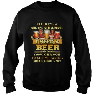 Theres a 999 chance I need a beer and a 100 chance that Im having more than one sweatshirt