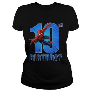 1559970260Spiderman Swinging 10th Funny Birthday Youth T- Classic Ladies