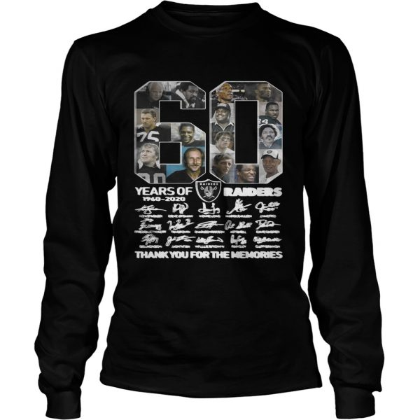 60 years of Oakland Raiders 1960 2020 signature thank you for the LongSleeve