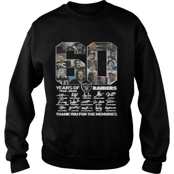 60 years of Oakland Raiders 1960 2020 signature thank you for the Sweatshirt