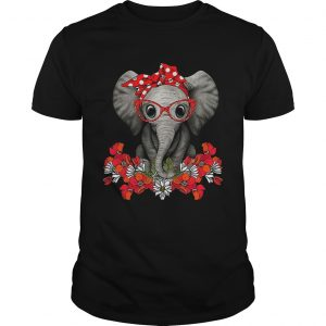 Red bow elephant with flowers  Unisex