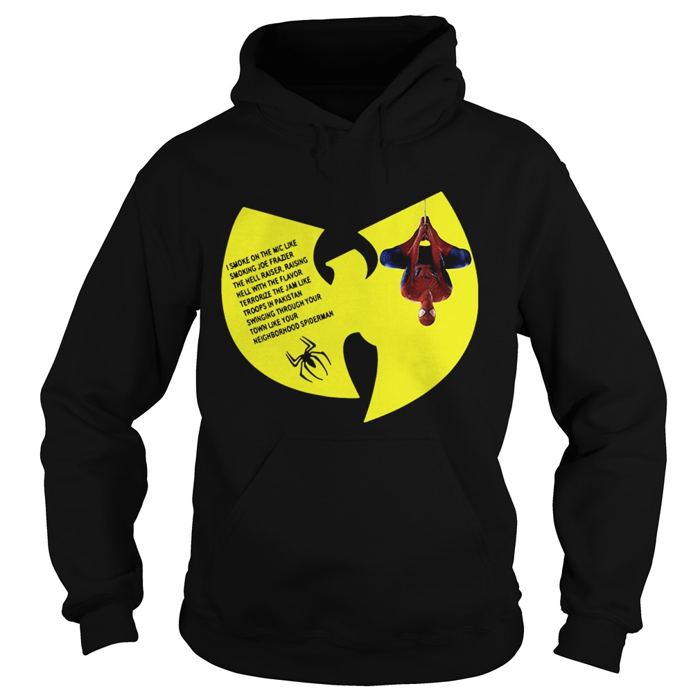 WuTang Clan Spiderman Protect Ya Neck lyrics I smoke on the mic Hoodie