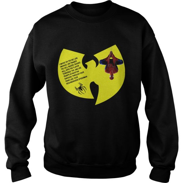 WuTang Clan Spiderman Protect Ya Neck lyrics I smoke on the mic Sweatshirt
