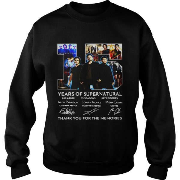 15 years of Supernatural thank you for the memories signatures  Sweatshirt