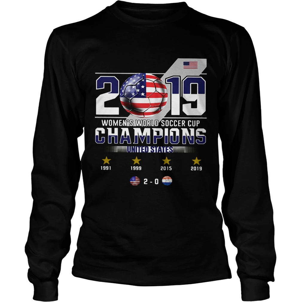 2019 Womens World Soccer Cup Champions United States  LongSleeve