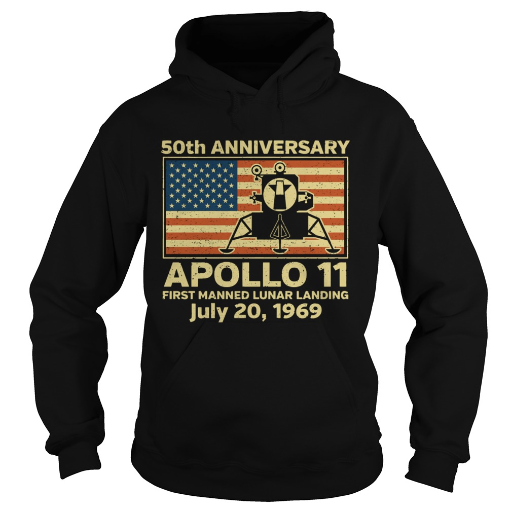 American flag apollo 11 first manned lunar landing July 20 1969  Hoodie