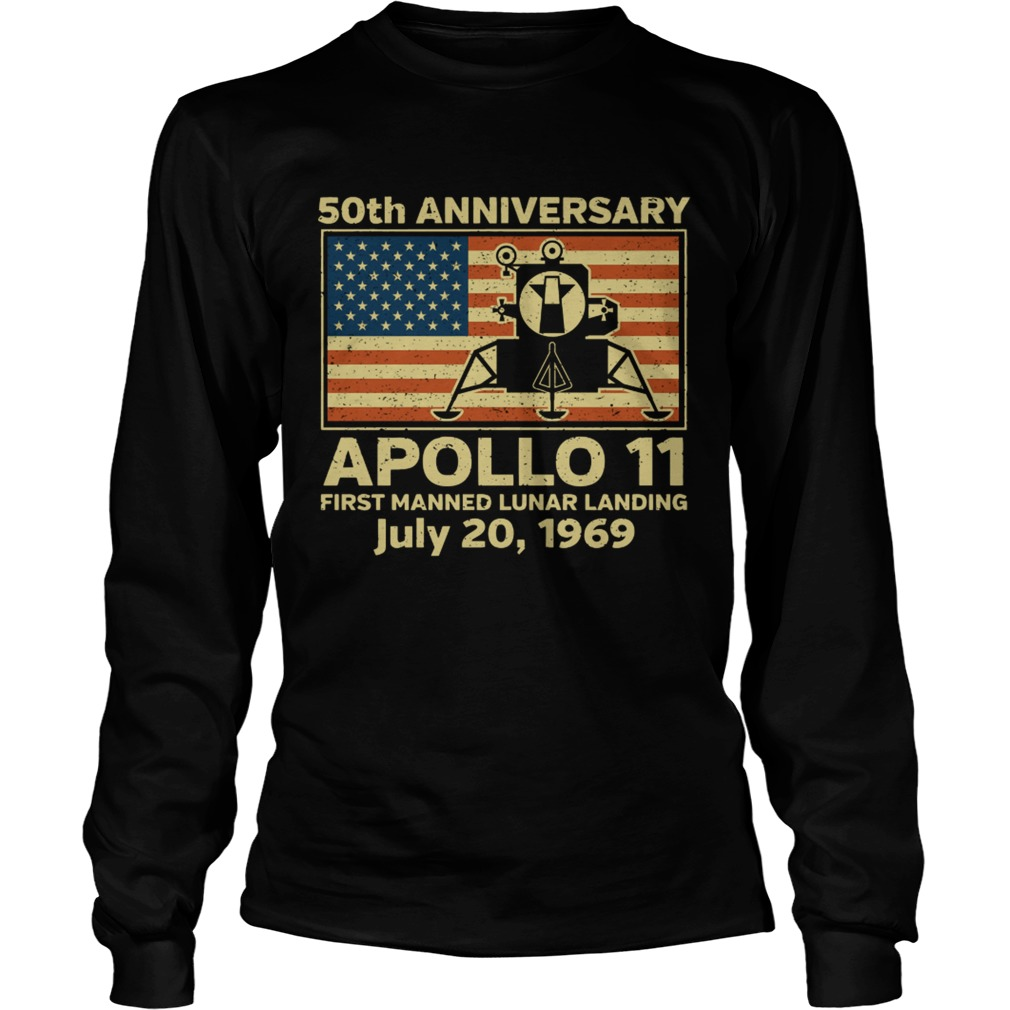 American flag apollo 11 first manned lunar landing July 20 1969  LongSleeve