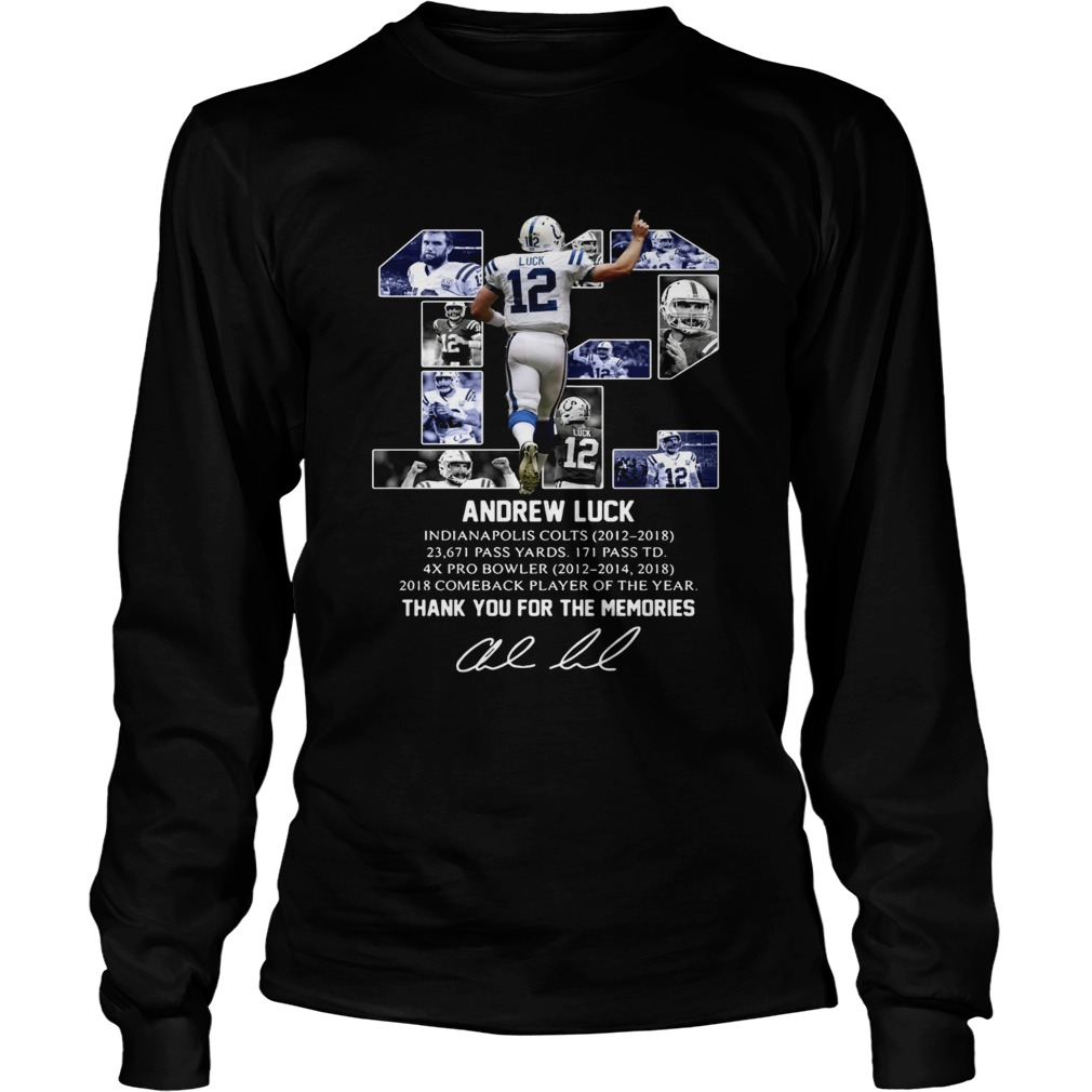 12 Andrew luck thank you for the memories signature  LongSleeve