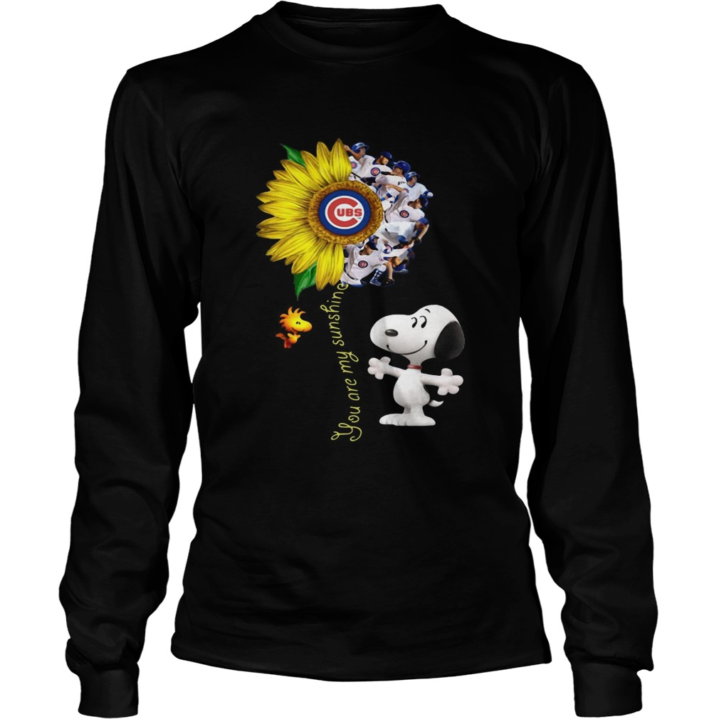 Snoopy and Woodstock you are my sunshine Chicago Cubs sunflower  LongSleeve