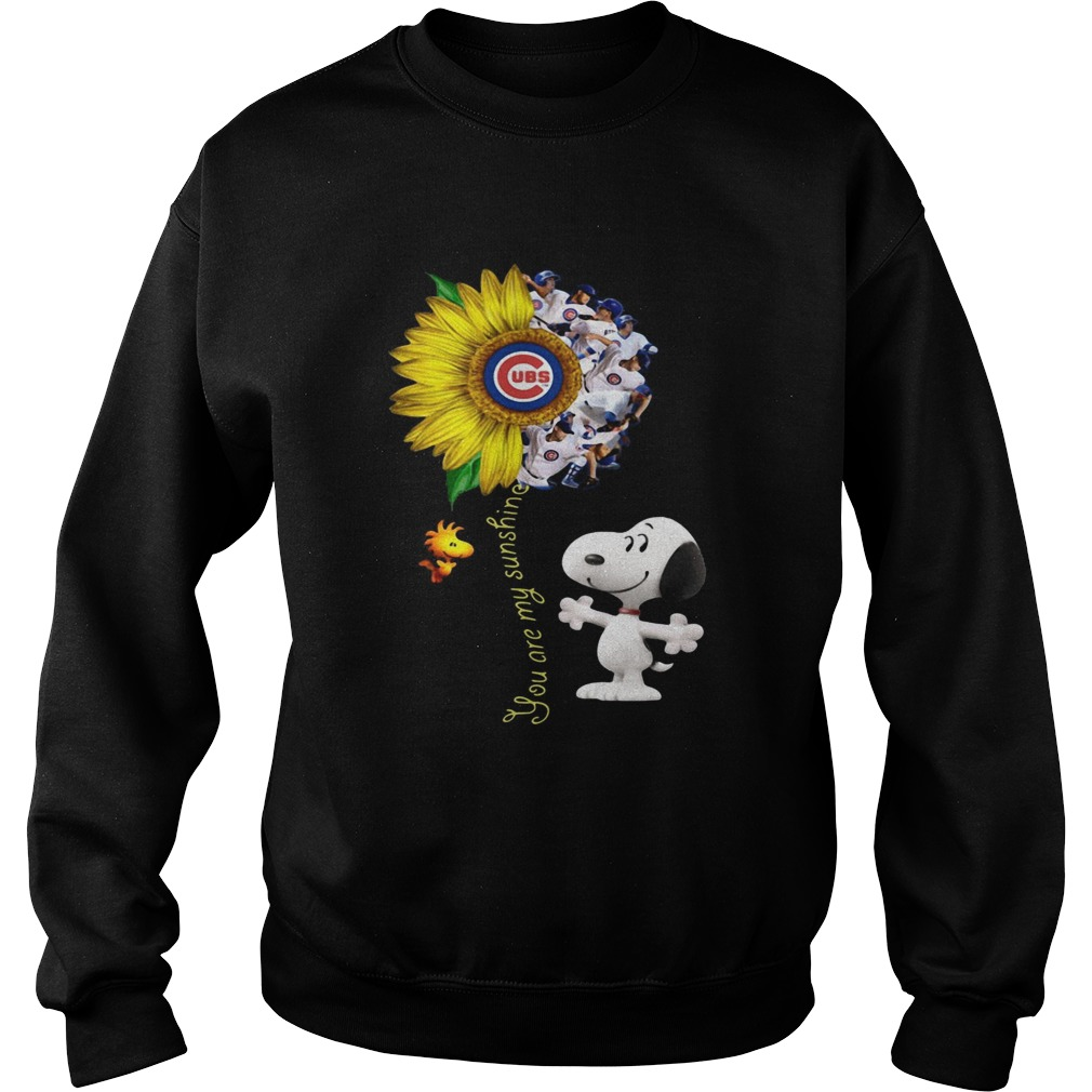 Snoopy and Woodstock you are my sunshine Chicago Cubs sunflower  Sweatshirt