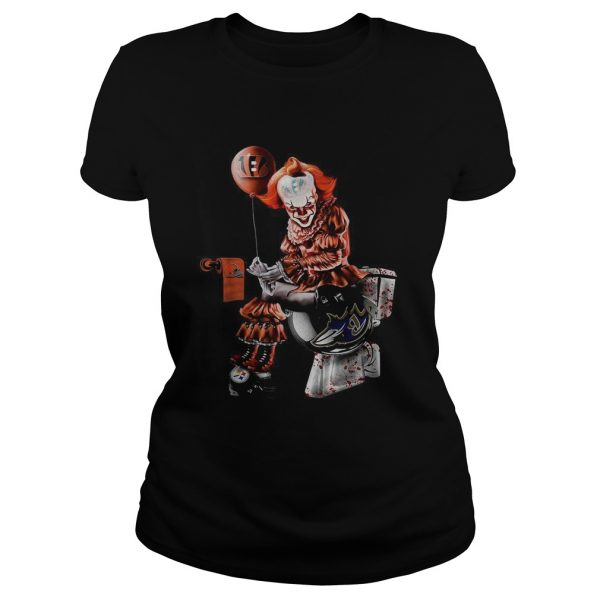 Pennywise Cincinnati Bengals Cleveland Browns Pittsburgh Steelers and Baltimore Ravens toilet  Classic Ladies