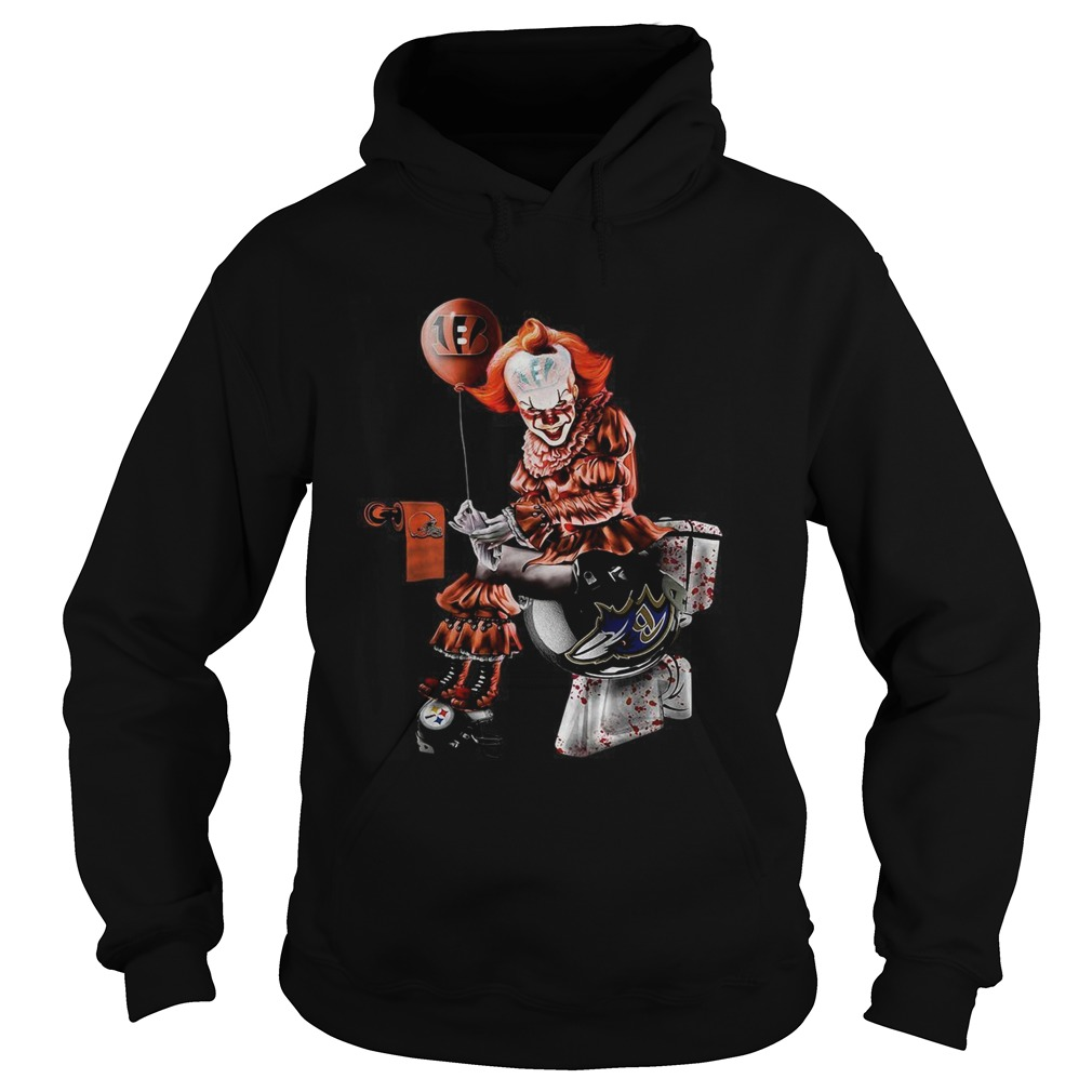 Pennywise Cincinnati Bengals Cleveland Browns Pittsburgh Steelers and Baltimore Ravens toilet  Hoodie