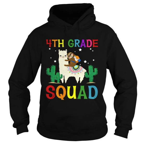 Sloth Riding Llama 4th Grade Squad Back To School TShirt Hoodie