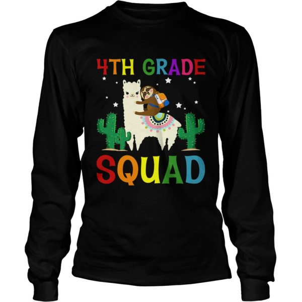Sloth Riding Llama 4th Grade Squad Back To School TShirt LongSleeve