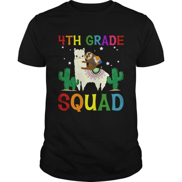 Sloth Riding Llama 4th Grade Squad Back To School TShirt Unisex