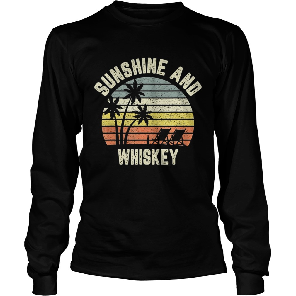 Vintage Sunshine and Whiskey Shirt Cool Retro Summertime TShirt LongSleeve