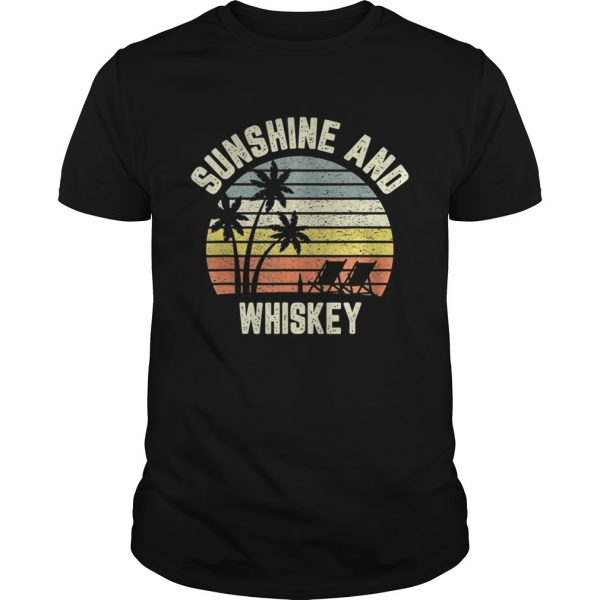 Vintage Sunshine and Whiskey Shirt Cool Retro Summertime TShirt Unisex