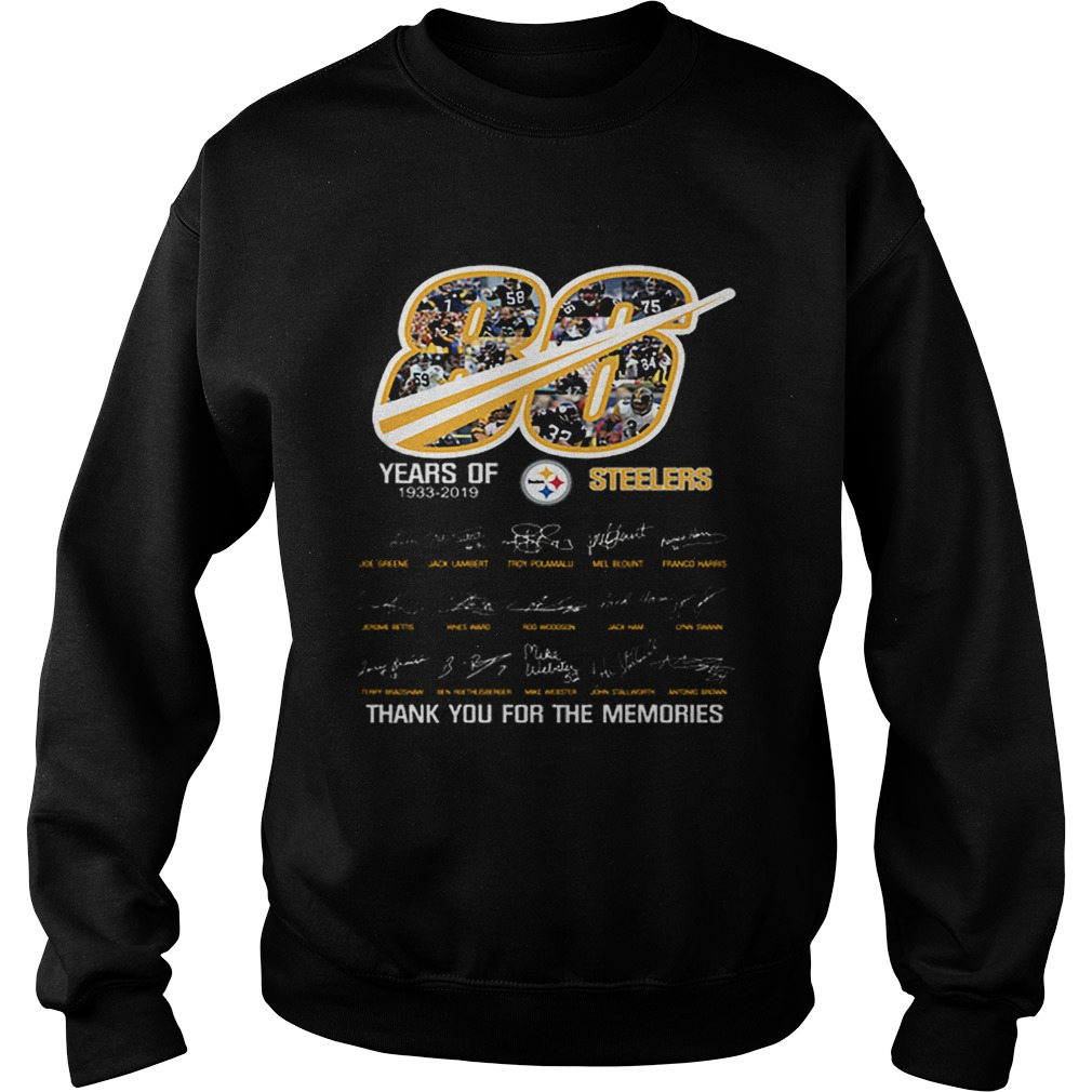 86 years of 19332019 Steelers thank you for the memories  Sweatshirt