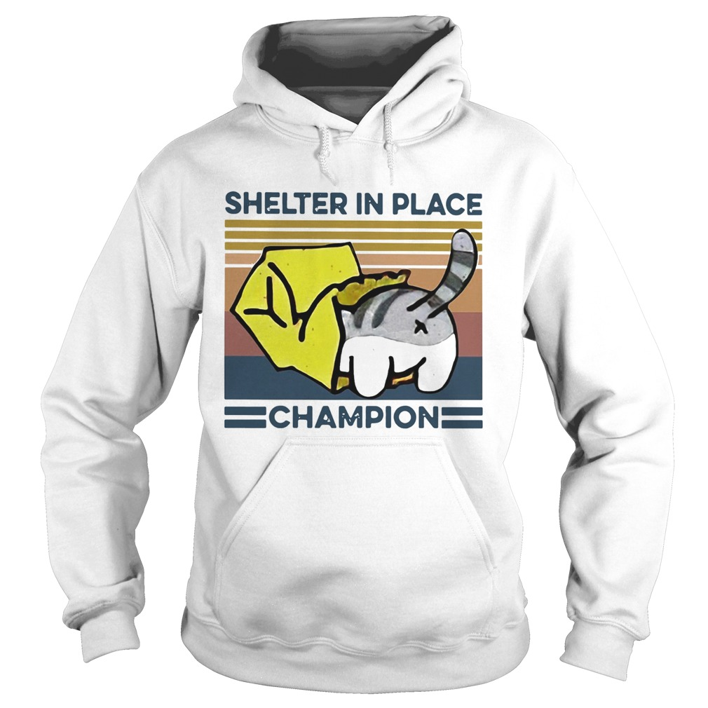 Cat Shelter In Place Champion Vintage  Hoodie