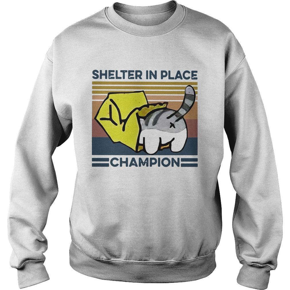 Cat Shelter In Place Champion Vintage  Sweatshirt