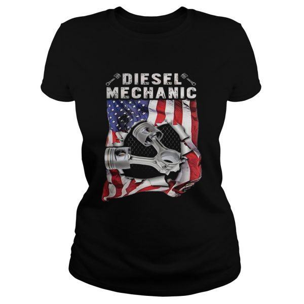 Independence Day flag american diesel mechanic  Classic Ladies