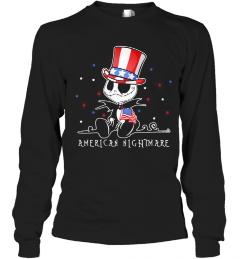 Jack Skellington American Nightmare 4Th Of July Independence Day T-Shirt Long Sleeved T-shirt