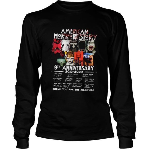 American Horror Story 9th Anniversary 2011 2020 Thank You For The Memories Signatures  Long Sleeve