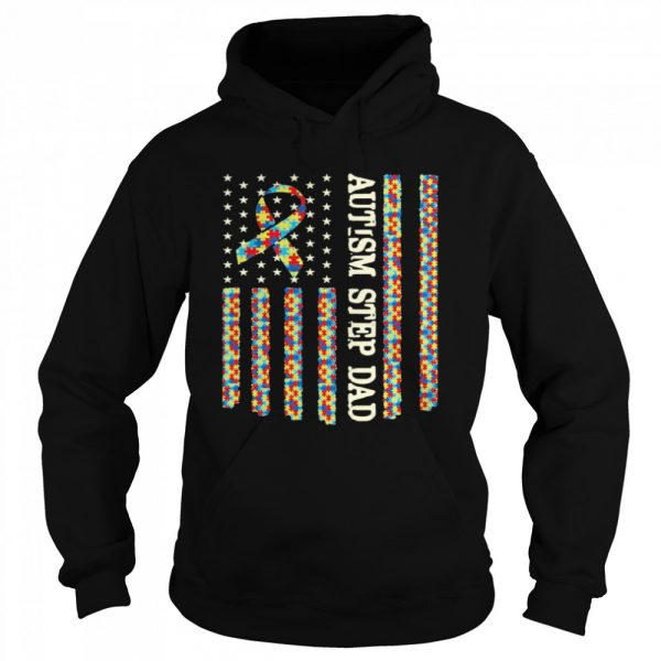 Autism Awareness Proud Autism Step Dad US Flag Gifts  Unisex Hoodie