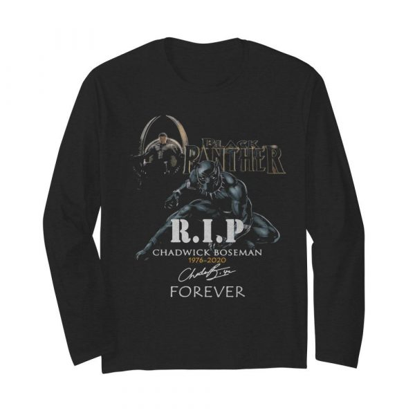 Black panther rip chadwick 1976 2020 forever signature  Long Sleeved T-shirt
