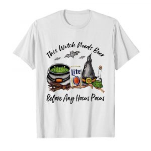 Millercoors Miller Lite Can This Witch Needs Beer Before Any Hocus Pocus  Classic Men's T-shirt