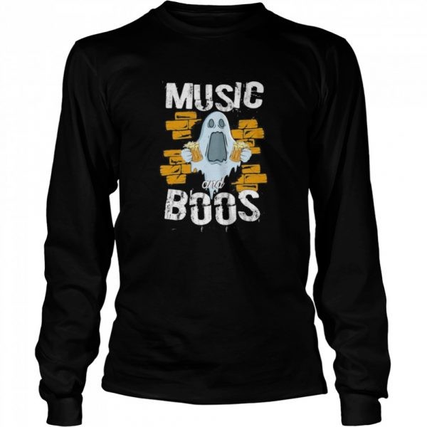 Music And Boos Ghost Funny Halloween Costume Beer Drinking  Long Sleeved T-shirt