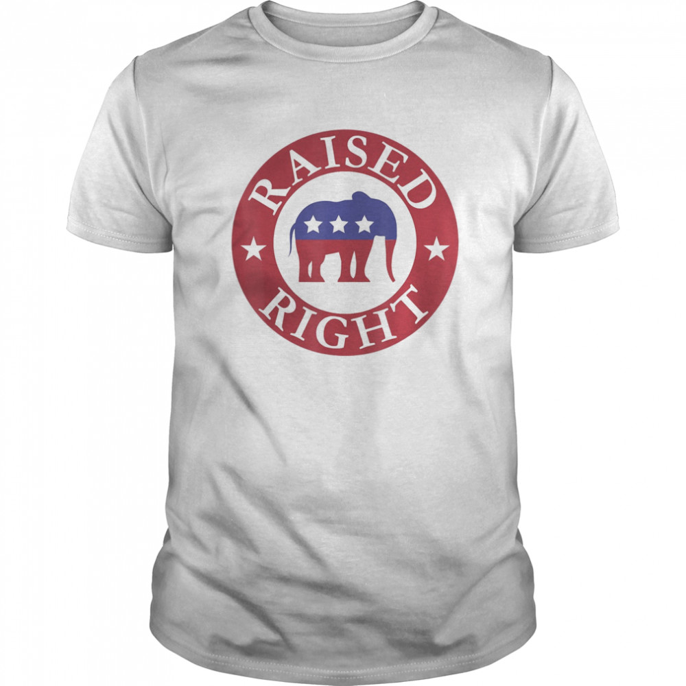 Raised Right Vote Donald Trump Republican Elephant  Classic Men's T-shirt