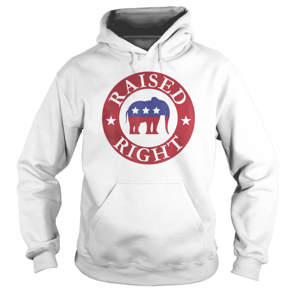 Raised Right Vote Donald Trump Republican Elephant  Unisex Hoodie