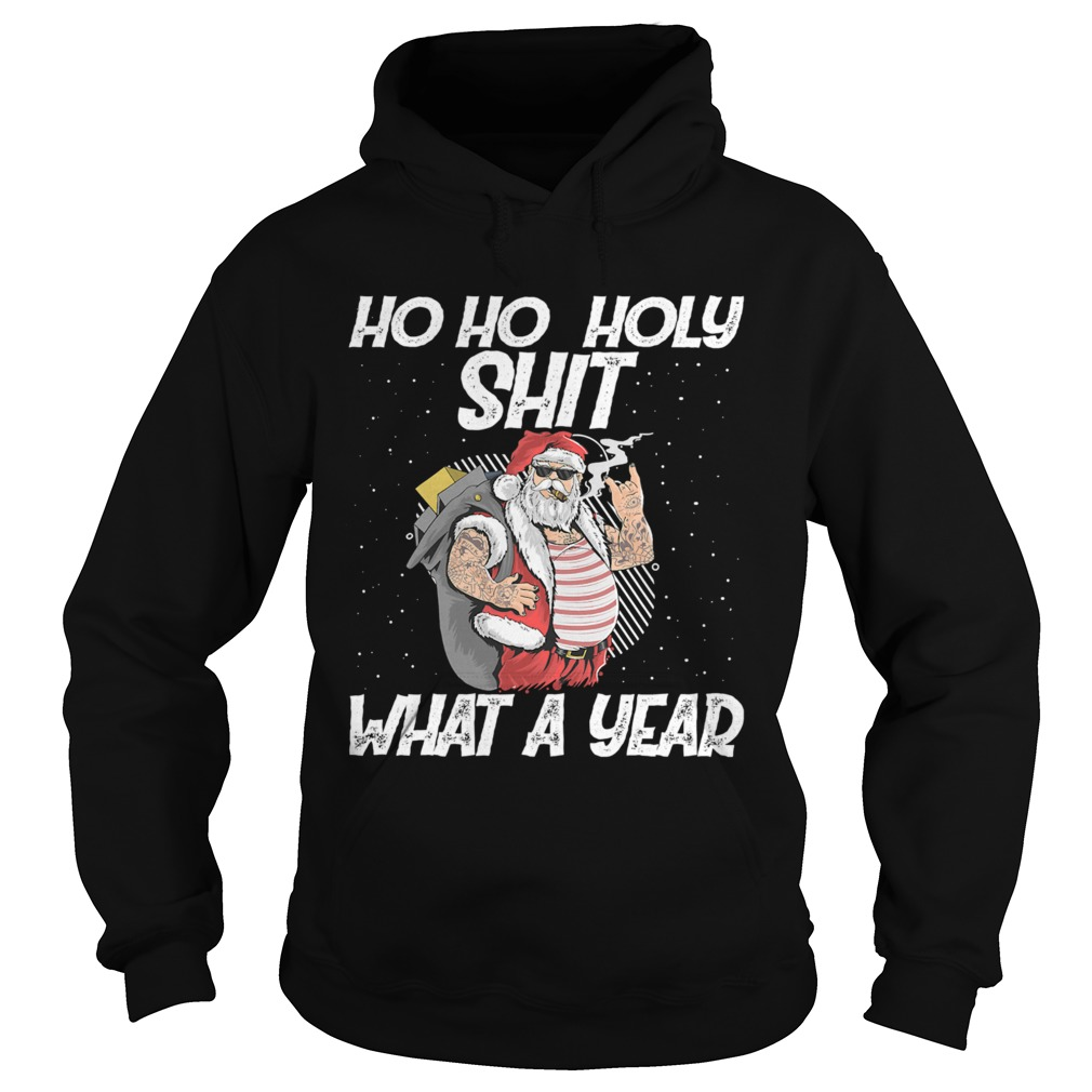 Ho Ho Holy Shit What A Year Tattoo Santa Claus With Glasses Christmas  Hoodie