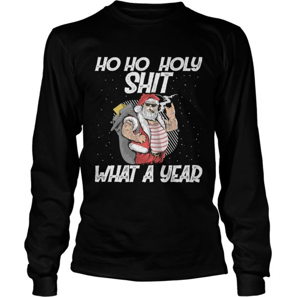 Ho Ho Holy Shit What A Year Tattoo Santa Claus With Glasses Christmas  Long Sleeve
