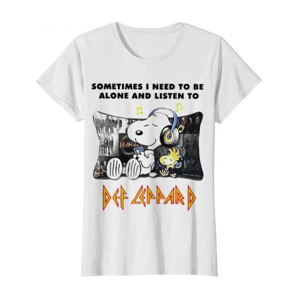 Snoopy Sometimes I need to be alone and listen to Def Leppard  Classic Women's T-shirt