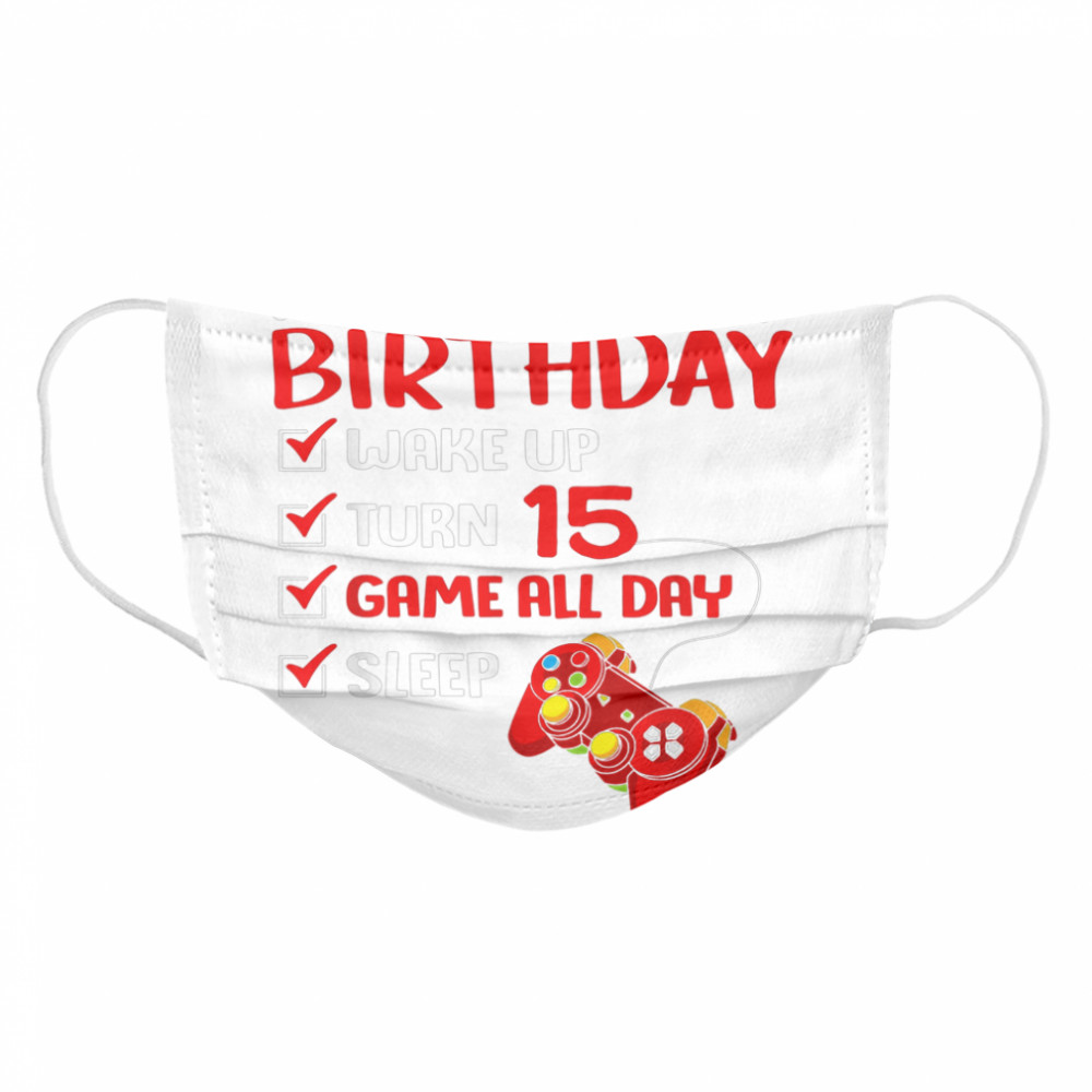15th Perfect Birthday Gamer Gaming 15 Years Old Boys  Cloth Face Mask