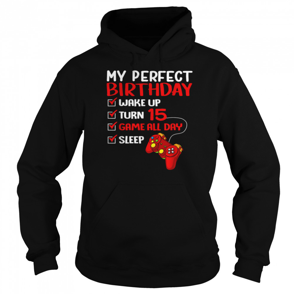 15th Perfect Birthday Gamer Gaming 15 Years Old Boys  Unisex Hoodie