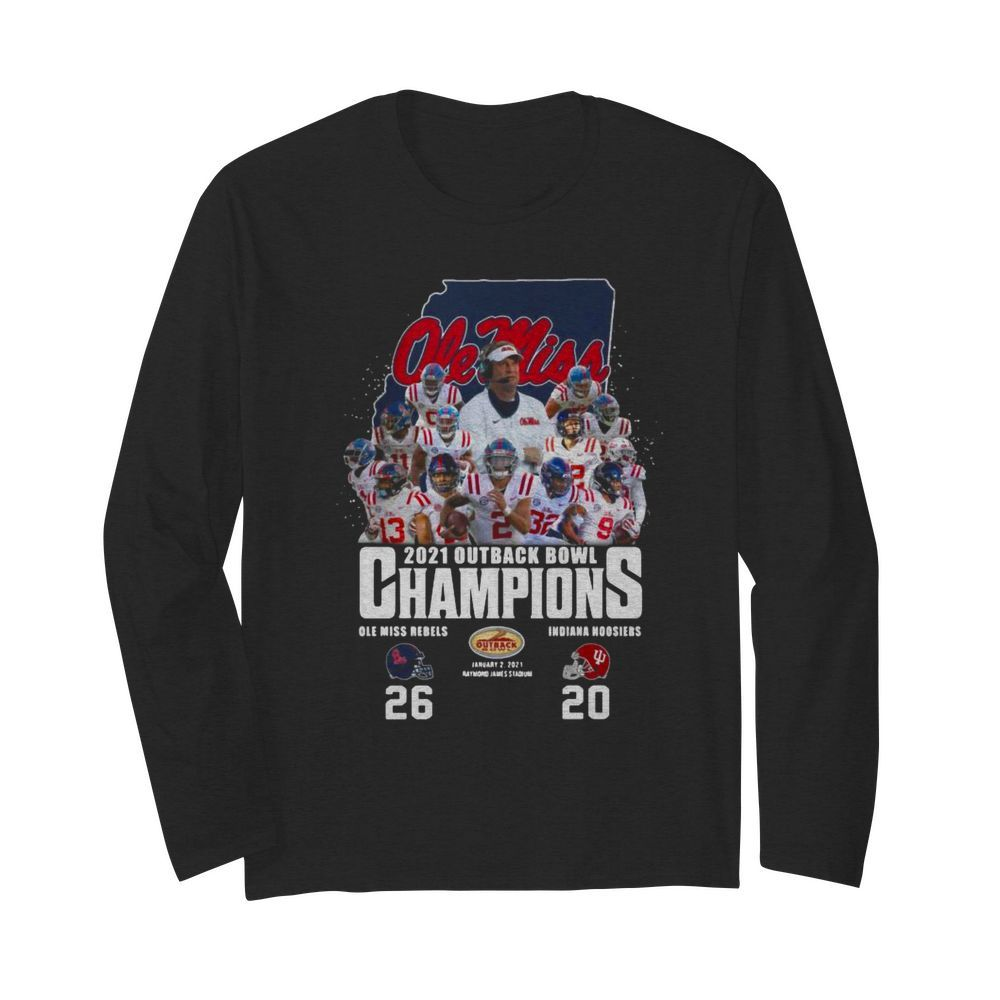 Ole Miss Football 2021 Outback Bowl Champions 26 20 Indiana Hoosiers  Long Sleeved T-shirt