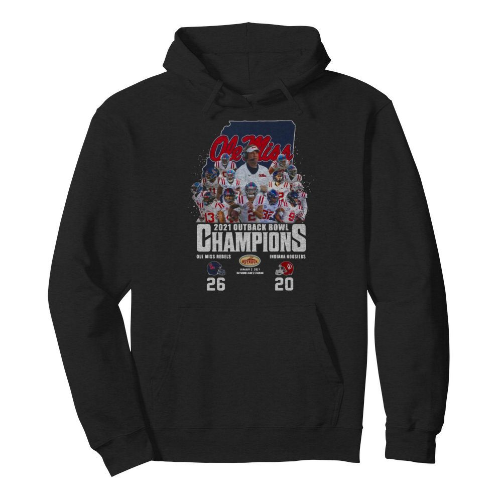 Ole Miss Football 2021 Outback Bowl Champions 26 20 Indiana Hoosiers  Unisex Hoodie